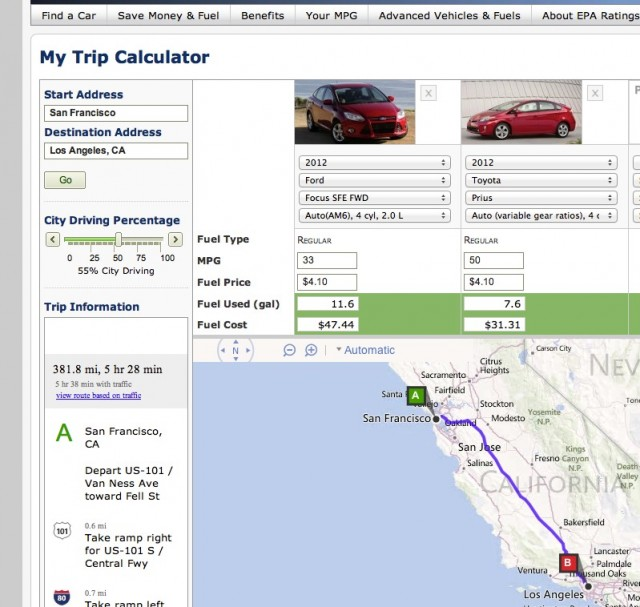 planning a trip  epa u0026 39 s fuel calculator predicts your gas bill