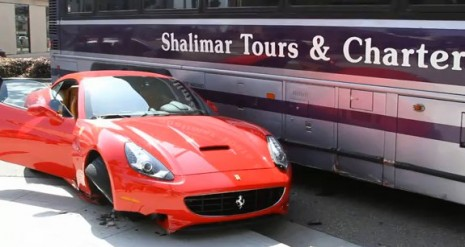 Ferrari California sideswiped by a bus