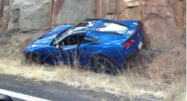 First 2014 Chevrolet Corvette Stingray crashed. Image via Digital