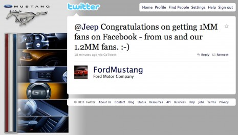 Ford Mustang Tweet To Jeep