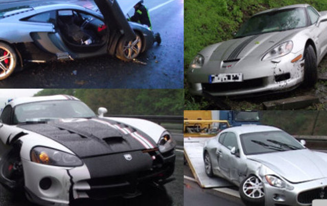 Four exotics crash on same stretch of autobahn - Image courtesy Hersfelder Zeitung