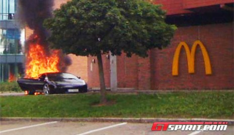 Gallardo burns in Norwegian McDonald's drive through. Photo via GT Spirit.