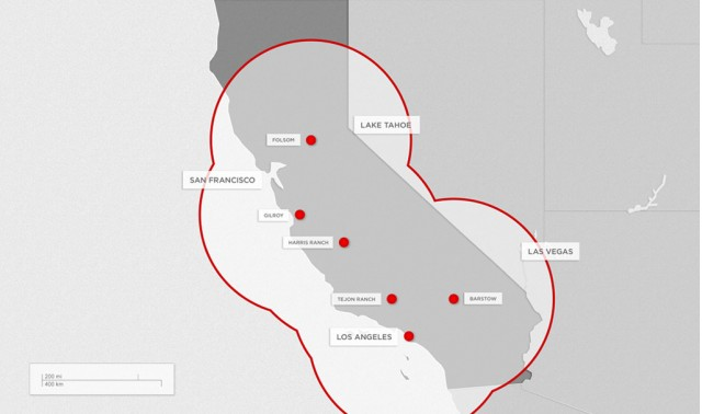 Initial locations for Tesla Supercharger fast-charging system
