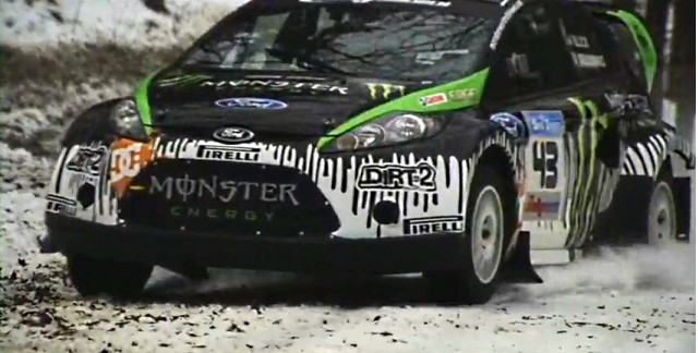 Ken Block testing the Monster Fiesta rally car ahead of Sno*Drift #8835067