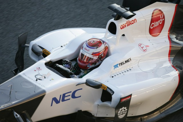 Kobayashi in the C31 Sauber - courtesy Sauber F1 Team
