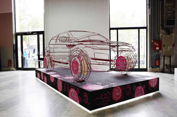 2010 Paris Auto Show: Wireframe street art by André (AKA Monsieur A) #9347442