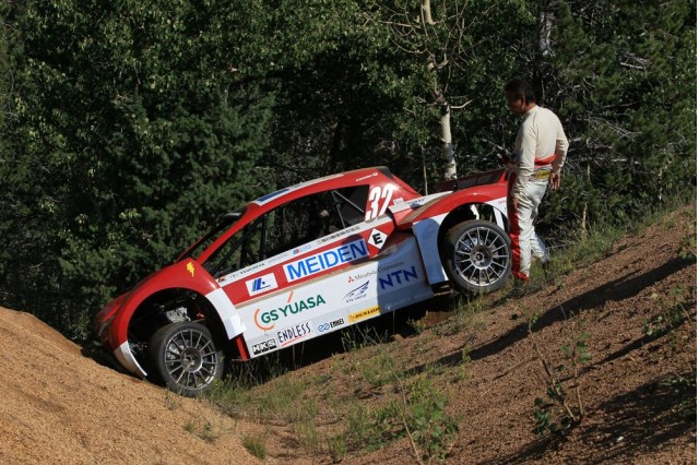 mitsubishi i miev evolution crashes during pikes peak practice 100398446 m Mitsubishi i Electric Cars At Pikes Peak Hill Climb