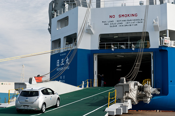 Nissan Transports 2012 Leafs With Solar Powered Hybrid Ship