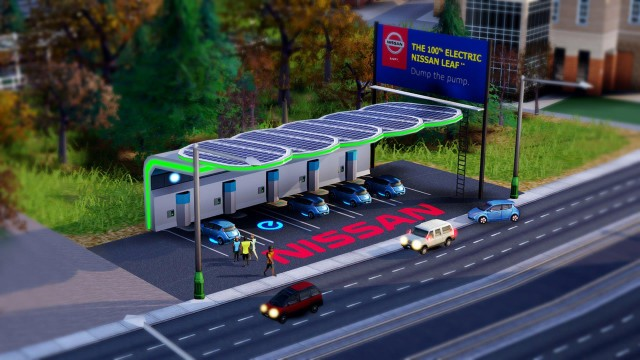 Nissan Leaf Solar Canopy Charging Station In New Sims Game