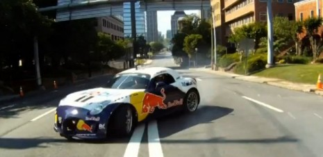 Red Bull Pontiac Solstice drifts the streets of downtown Atlanta