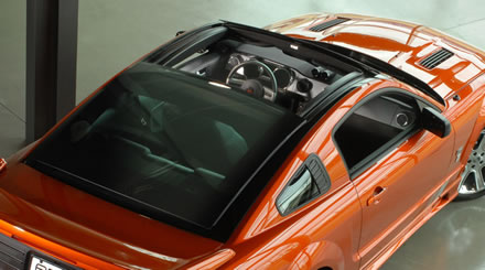 saleen unveiling power sliding glass roof for s197 mustang in new york. Black Bedroom Furniture Sets. Home Design Ideas