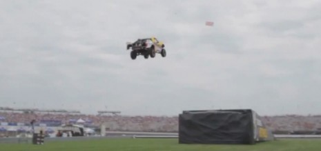 Tanner Foust sets world record distance jump in Hot Wheels stunt