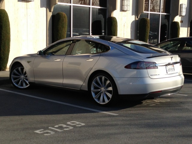 Tesla Model S parked in Menlo Park, California, March 2013 [photo: Eugene Lee]