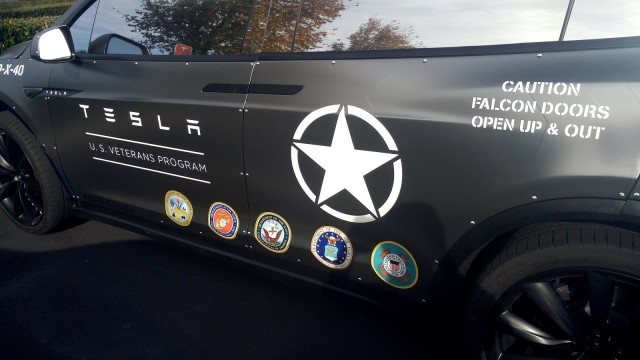 Tesla Model X veterans recruitment vehicle [photo: George Parrott]