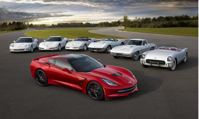 HI-RES GALLERY: The 2014 Corvette Stingray poses with its elders ...