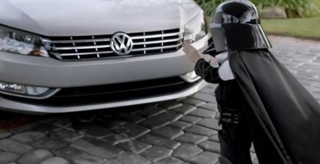 Tiny Darth Vader uses the force on a 2012 Volkswagen Passat