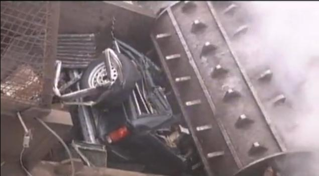 Vehicle being crushed, from Argonne National Laboratory video