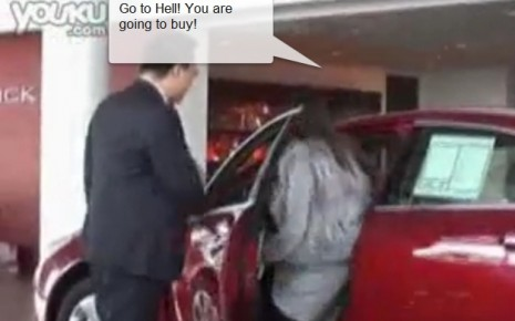Woman forces man to buy Buick in Shanghai
