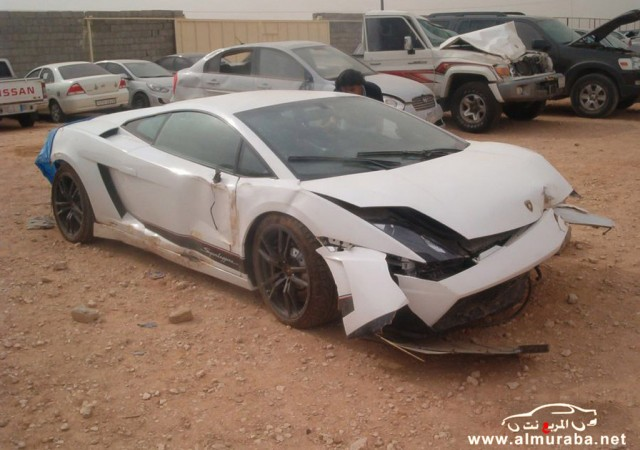 Wreckage of a Lamborghini Gallardo LP 570-4 Superleggera that crashed in Riyadh, Saudi Arabia