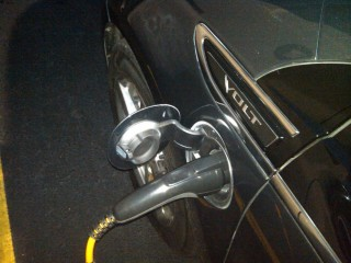2011 Chevrolet Volt late-night recharging in Little Rock, Arkansas, during July 2010 Freedom Drive