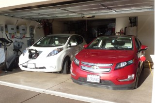 2011 Nissan Leaf and 2011 Chevy Volt, with charging station v