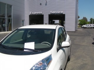 2011 Nissan Leaf at dealership after software upgrade, May 2011, photo by George Parrott