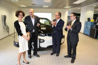 First delivery of 2014 BMW i3 electric car, to Tufts professor Charles Rabie in Boston, May 2014