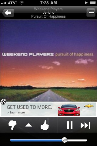 Chevy Cruze ad on Pandora