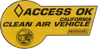 Clean Air Vehicle access pass issued by California DMV to hybrid vehicles