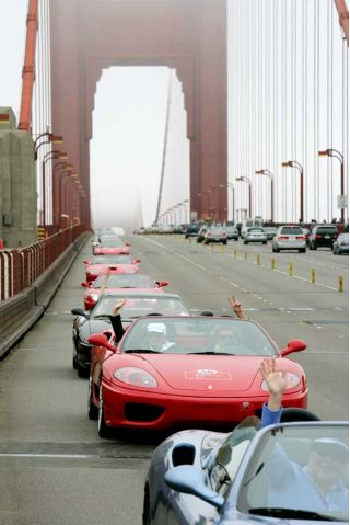 Ferrari Rally crosses San Francisco's Golden Gate Bridge on 8/17/05.