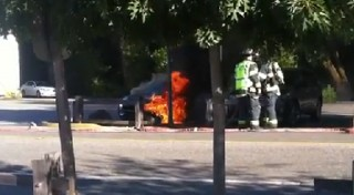 Fisker Karma on fire in Woodside, California