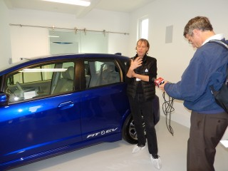 Honda Fit EV electric car in garage of Honda Smart Home at UC-Davis, California