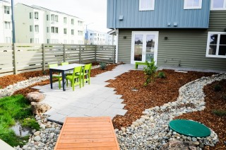 Backyard stormwater runoff channel at Honda Smart Home at UC-Davis, California