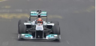 Michael Schumacher drives the Nordschleife in an F1 car
