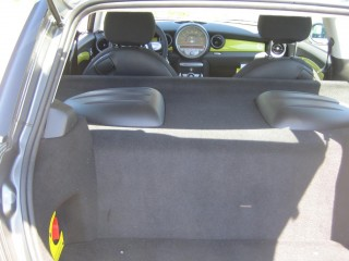 Mini E electric vehicle - rear seat and load area mostly occupied by battery box