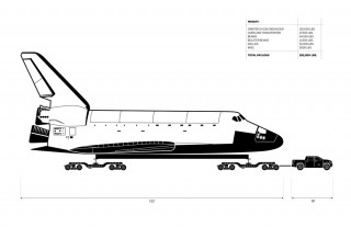 Schematic of Toyota Tundra towing Space Shuttle Endeavour