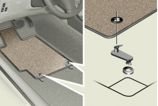 Toyota's diagram showing how to properly install floor mats